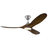 Monte Carlo Fans 3MAVR52BSD Maverick Ii Led 52 inch Brushed Steel with Dark Walnut Blades Indoor Ceiling Fan