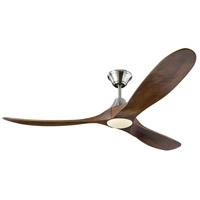 Monte Carlo Fans 3MAVR60BSD Maverick LED 60 inch Brushed Steel with Dark Walnut Blades Indoor Ceiling Fan