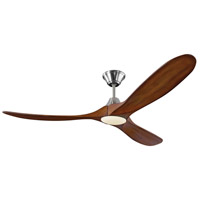 Monte Carlo Fans 3MAVR60BSKOAD Maverick LED 60 inch Brushed Steel with Dark Walnut Blades Indoor Ceiling Fan