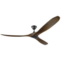 Monte Carlo Fans 3MAVR70BK Maverick Max 70 inch Matte Black with Walnut Blades Ceiling Fan