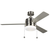 Monte Carlo Fans 3SY52BSD Syrus 52 inch Brushed Steel with Silver/Walnut Blades Indoor Ceiling Fan