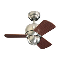 Micro 24 24 inch Brushed Steel with Mahogany Blades Outdoor Ceiling Fan