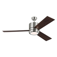 Monte Carlo Fans 3VNMR56BSD-V1 Vision Max 56 inch Brushed Steel with Silver/American Walnut Blades Indoor-Outdoor Ceiling Fan