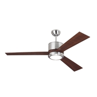 Monte Carlo Fans 3VNR52BSD-V1 Vision 52 inch Brushed Steel with Teak ABS/Teak ABS Blades Indoor Ceiling Fan