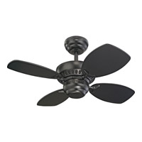 Monte Carlo Fan Company Colony II Petite Fan in Matte Black 4CO28BK