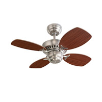 Colony II 28 inch Brushed Steel with Mahogany Blades Ceiling Fan