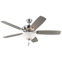 Colony Max Plus 52 inch Brushed Steel with Silver Blades Indoor-Outdoor Ceiling Fan in Matte Opal