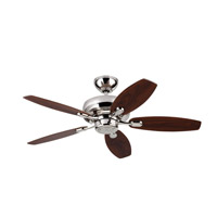Centro Max II 44 inch Polished Nickel with Silver Blades Ceiling Fan in Silver and American Walnut