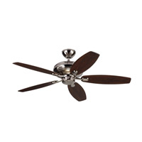 Centro Max 52 inch Polished Nickel with Silver Blades Ceiling Fan in Silver and American Walnut
