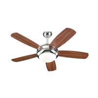 Discus II 44 inch Polished Nickel with American Walnut Blades Ceiling Fan in 1, Polished Nickel and Matte Opal, Matte Opal