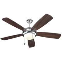 Discus 52 inch Polished Nickel with American Walnut Blades Ceiling Fan in 1, Matte Opal