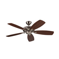 Designer Max 52 inch Brushed Steel with Silver and American Walnut Blades Ceiling Fan