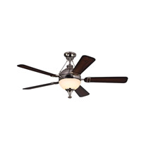 Essex 54 inch Polished Nickel Gradient Walnut Ceiling Fan