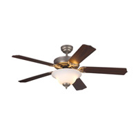 Homeowners Deluxe 52 inch Brushed Pewter with American Walnut Blades Ceiling Fan in 3, White Faux Alabaster