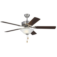 Monte Carlo Fans 5HVDC52BSD Haven DC LED 52 inch Brushed Steel with Silver/American Walnut Blades Ceiling Fan