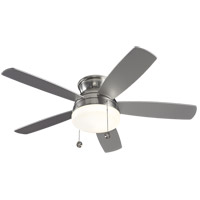 Traverse 52 inch Brushed Steel with Silver Blades Ceiling Fan in Matte Opal, Semi-Flush