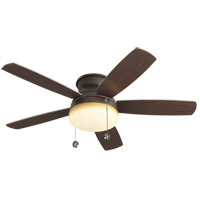Traverse 52 inch Roman Bronze Ceiling Fan in Graduated Amber, Semi-Flush