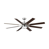 Empire Downrod 60 inch Brushed Steel with Gloss Walnut Blades Indoor-Outdoor Ceiling Fan