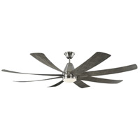 Kingston 72 inch Brushed Steel with Light Grey Weathered Oak Blades Indoor Ceiling Fan