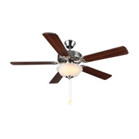 HomeBuilder II 52 inch Brushed Steel with Silver Blades Ceiling Fan in Acid Frosted