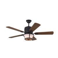 Grafton 52 inch Antique Forged Iron with Wood Grey Oak Blades Ceiling Fan