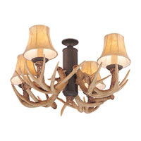 Antler 4 Light Incandescent Weathered Iron Light Kit