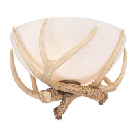 Great Lodge 3 Light Incandescent Antique White Scavo Light Kit, Dual Mount Antler Bowl