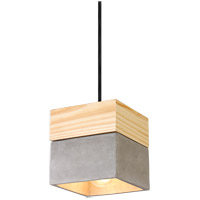 Matteo Lighting C53203CR Industrial 1 Light 6 inch Concrete and Pine Pendant Ceiling Light