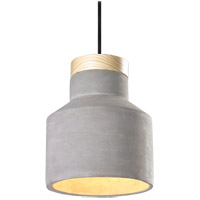 Matteo Lighting C53207CR Industrial 1 Light 9 inch Concrete and Pine Pendant Ceiling Light