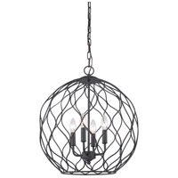 Matteo Lighting C54404MB Parisian Mesh 4 Light 18 inch Matte Black Pendant Ceiling Light