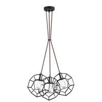 Matteo Lighting C54633RB Geometry Series 3 Light Rusty Black Pendant Ceiling Light