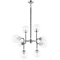 Matteo Lighting C58208CHCL Particles 8 Light 30 inch Black and Chrome Pendant Ceiling Light