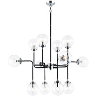 Matteo Lighting C58212CHCL Particles 12 Light 38 inch Black and Chrome Pendant Ceiling Light