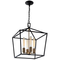 Matteo Lighting C61704RB Scatola 4 Light 16 inch Rusty Black and Aged Gold Brass accents Chandelier Ceiling Light