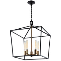 Matteo Lighting C61705RB Scatola 5 Light 20 inch Rusty Black and Aged Gold Brass accents Chandelier Ceiling Light