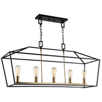 Matteo Lighting C61715RB Scatola 5 Light 12 inch Rusty Black and Aged Gold Brass accents Chandelier Ceiling Light