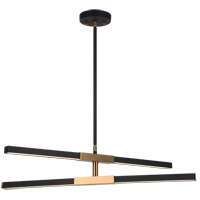 Matteo Lighting C64738MBAG Lineare LED 1 inch Matte Black and Aged Gold Brass Pendant Ceiling Light