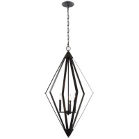 Matteo Lighting C69203MB Diamant 3 Light 20 inch Matte Black Pendant Ceiling Light