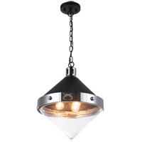 Matteo Lighting C72203CHCL Sphericon 3 Light 14 inch Matte Black and Chrome Pendant Ceiling Light
