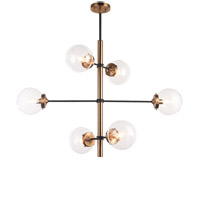 Matteo Lighting C78106AGCL Enchant 6 Light 20 inch Aged Gold Brass Pendant Ceiling Light