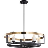 Matteo Lighting C82905BKAG Crandle 5 Light 23 inch Black and Aged Gold Brass Chandelier Ceiling Light