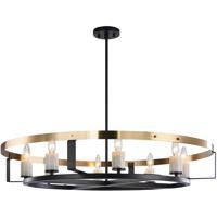 Matteo Lighting C82908BKAG Crandle 8 Light 36 inch Black and Aged Gold Brass Chandelier Ceiling Light