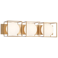 Matteo Lighting S03803AG Squircle 3 Light 26 inch Aged Gold Brass Wall Sconce Wall Light