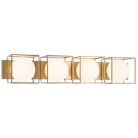 Matteo Lighting S03804AG Squircle 4 Light 35 inch Aged Gold Brass Wall Sconce Wall Light