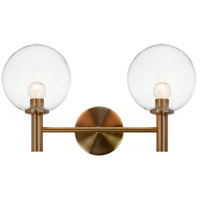 Matteo Lighting S06002AGCL Cosmo 2 Light 17 inch Aged Gold Brass Wall Sconce Wall Light