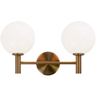 Matteo Lighting S06002AGOP Cosmo 2 Light 17 inch Aged Gold Brass Wall Sconce Wall Light