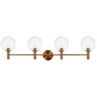 Matteo Lighting S06004AGCL Cosmo 4 Light 36 inch Aged Gold Brass Wall Sconce Wall Light