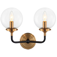 Matteo Lighting W58202AGCL Particles 2 Light 14 inch Aged Gold Brass Wall Sconce Wall Light