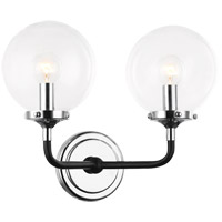 Matteo Lighting W58202CHCL Particles 2 Light 14 inch Black and Chrome Wall Sconce Wall Light