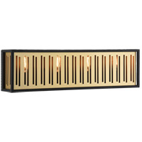 Matteo Lighting W67704MB Goldenguild 4 Light 24 inch Matte Black and Brushed Gold Wall Sconce Wall Light